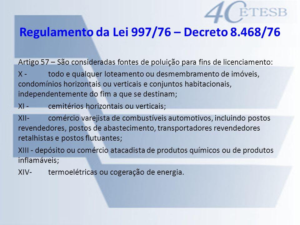 Regulamento da Lei 997/76 – Decreto 8.468/76 Artigo 57 – São consideradas fontes de poluição para fins de licenciamento: X -todo e qualquer loteamento