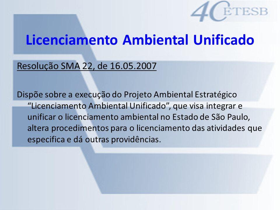 Licenciamento Ambiental Unificado Resolução SMA 22, de 16.05.2007 Dispõe sobre a execução do Projeto Ambiental Estratégico Licenciamento Ambiental Uni