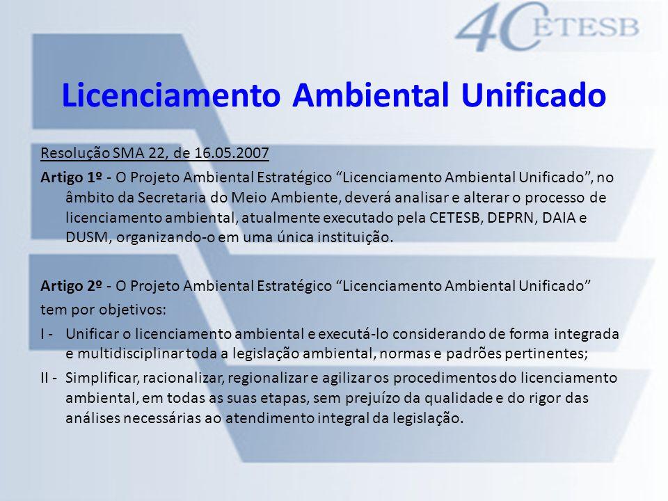 Licenciamento Ambiental Unificado Resolução SMA 22, de 16.05.2007 Artigo 1º - O Projeto Ambiental Estratégico Licenciamento Ambiental Unificado, no âm