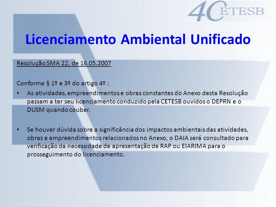 Licenciamento Ambiental Unificado Resolução SMA 22, de 16.05.2007 Conforme § 1º e 3º do artigo 4º : As atividades, empreendimentos e obras constantes