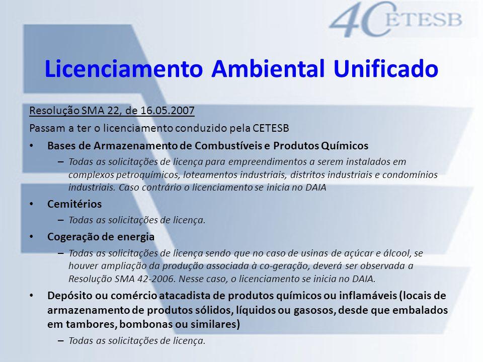 Licenciamento Ambiental Unificado Resolução SMA 22, de 16.05.2007 Passam a ter o licenciamento conduzido pela CETESB Bases de Armazenamento de Combust