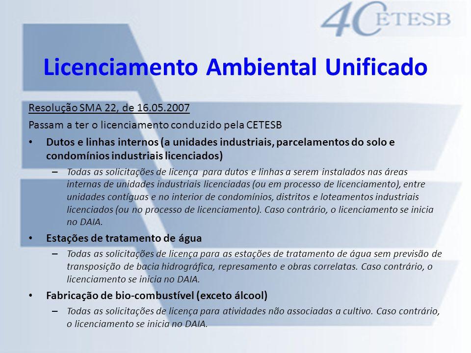 Licenciamento Ambiental Unificado Resolução SMA 22, de 16.05.2007 Passam a ter o licenciamento conduzido pela CETESB Dutos e linhas internos (a unidad