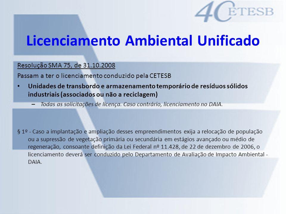 Licenciamento Ambiental Unificado Resolução SMA 75, de 31.10.2008 Passam a ter o licenciamento conduzido pela CETESB Unidades de transbordo e armazena