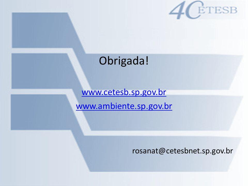 Obrigada! www.cetesb.sp.gov.br www.ambiente.sp.gov.br rosanat@cetesbnet.sp.gov.br