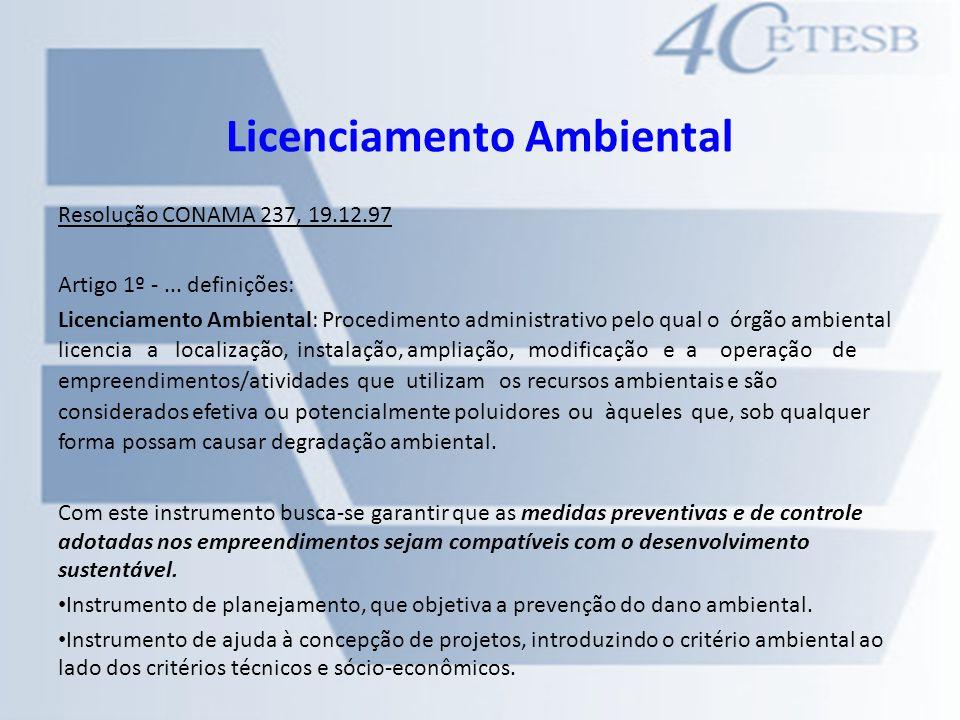 Licenciamento Ambiental Resolução CONAMA 237, 19.12.97 Artigo 1º -... definições: Licenciamento Ambiental: Procedimento administrativo pelo qual o órg