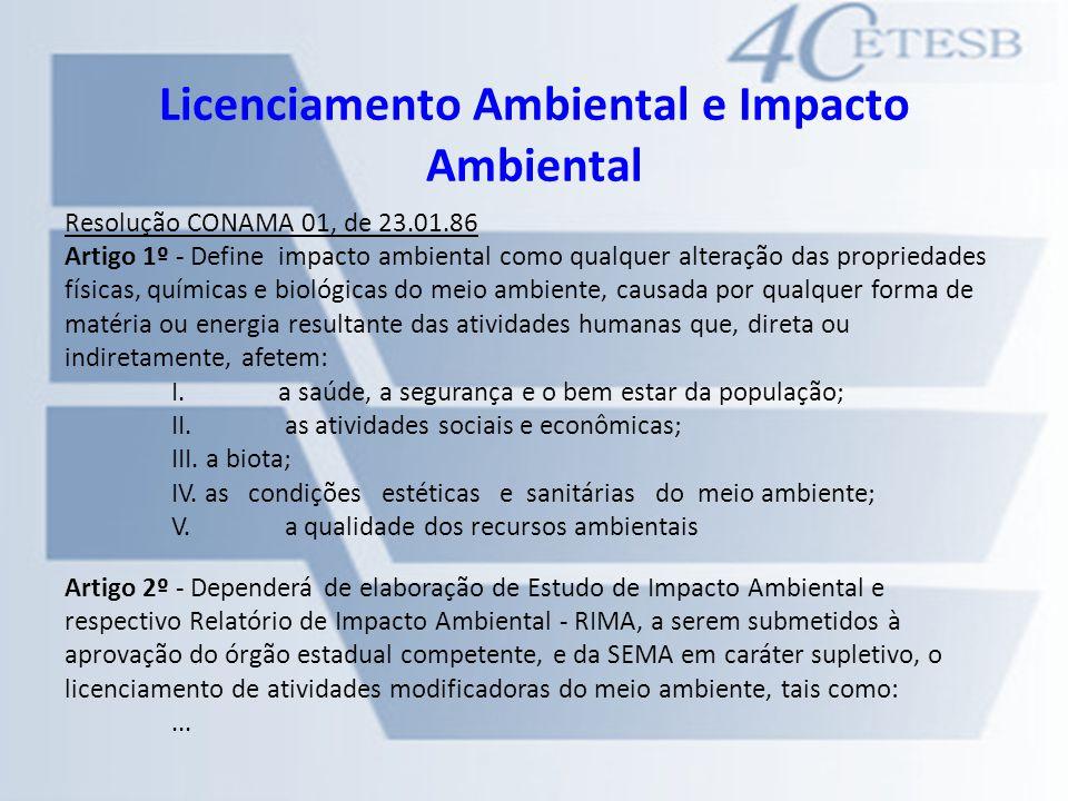 Licenciamento Ambiental e Impacto Ambiental Resolução CONAMA 01, de 23.01.86 Artigo 1º - Define impacto ambiental como qualquer alteração das propried