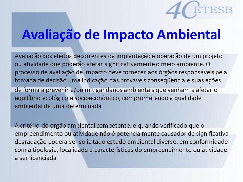 Avaliação de Impacto Ambiental Avaliação dos efeitos decorrentes da implantação e operação de um projeto ou atividade que poderão afetar significativa