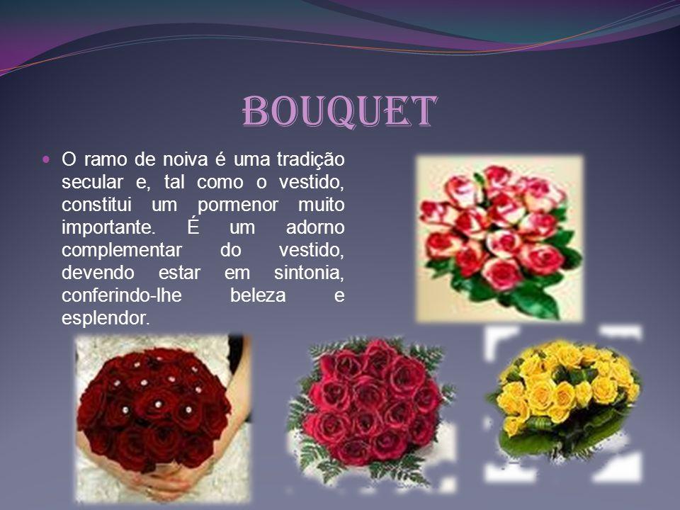 Bouquet O ramo de noiva é uma tradição secular e, tal como o vestido, constitui um pormenor muito importante. É um adorno complementar do vestido, dev