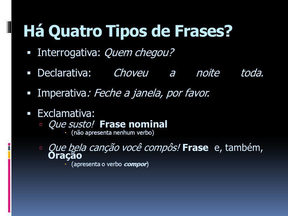 Há Quatro Tipos de Frases.Interrogativa: Quem chegou.