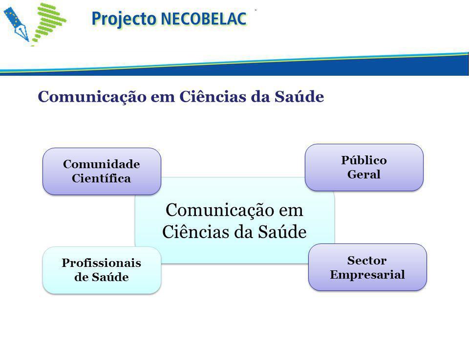 Comunicação em Ciências da Saúde Profissionais de Saúde Profissionais de Saúde Comunidade Científica Comunidade Científica Público Geral Público Geral Sector Empresarial Comunicação em Ciências da Saúde
