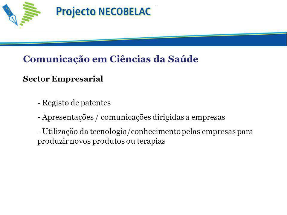 Sector Empresarial - Registo de patentes - Apresentações / comunicações dirigidas a empresas - Utilização da tecnologia/conhecimento pelas empresas para produzir novos produtos ou terapias