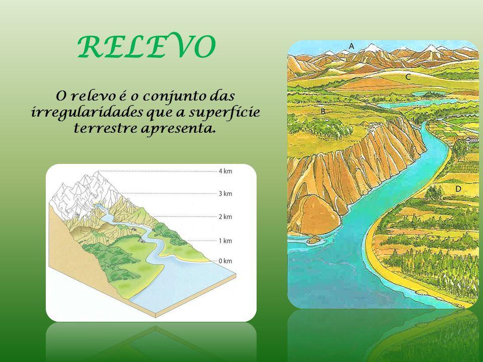 Um dos elementos que permite caracterizar o relevo é a ALTITUDE Distância em metros, medida na vertical, entre o nível médio das águas do mar e um dado lugar.