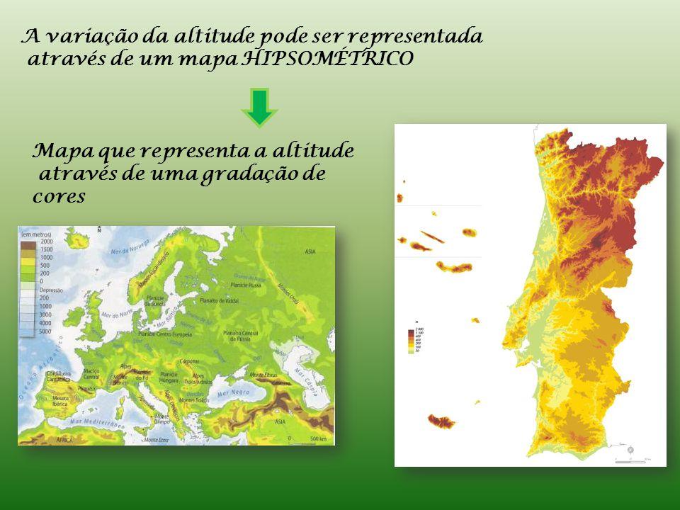 A variação da altitude pode ser representada através de um mapa HIPSOMÉTRICO Mapa que representa a altitude através de uma gradação de cores