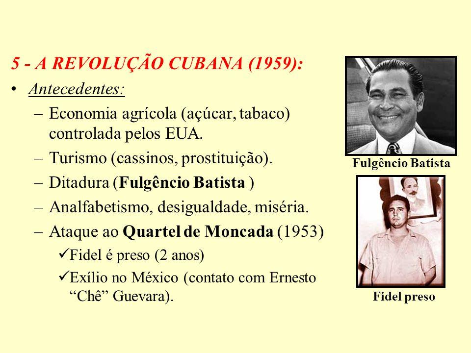 5 - A REVOLUÇÃO CUBANA (1959): Antecedentes: –Economia agrícola (açúcar, tabaco) controlada pelos EUA. –Turismo (cassinos, prostituição). –Ditadura (F