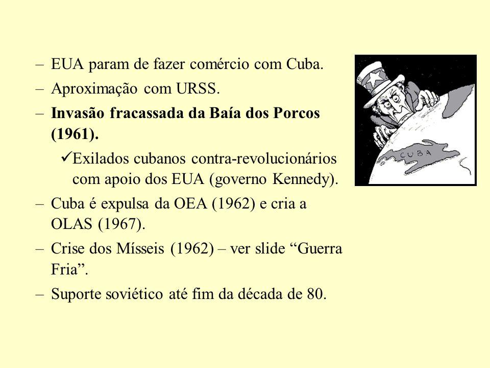 –EUA param de fazer comércio com Cuba. –Aproximação com URSS. –Invasão fracassada da Baía dos Porcos (1961). Exilados cubanos contra-revolucionários c