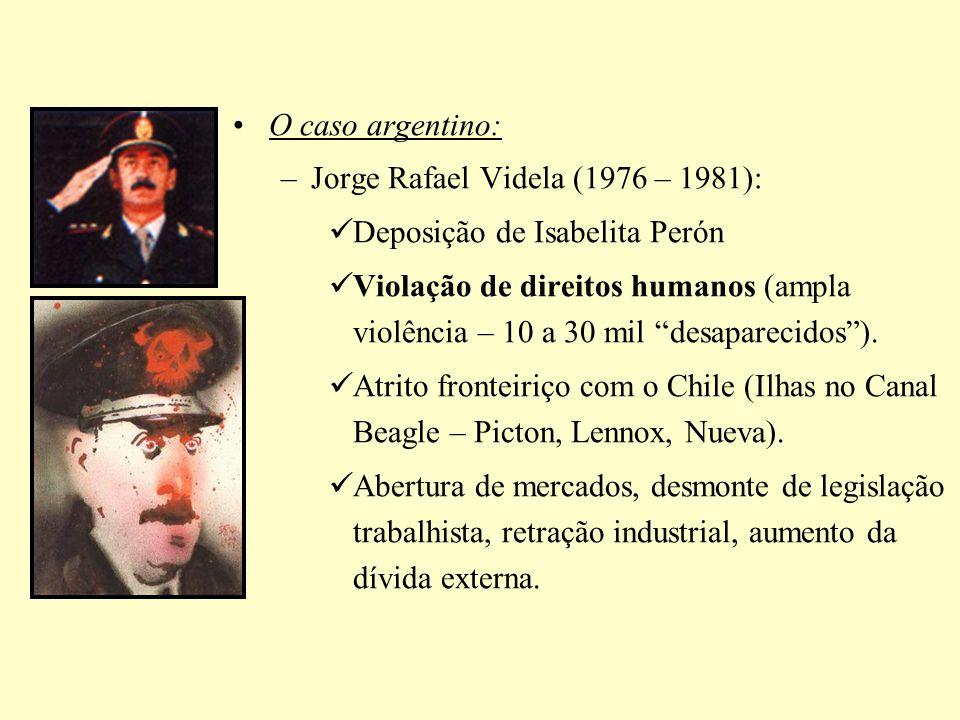 O caso argentino: –Jorge Rafael Videla (1976 – 1981): Deposição de Isabelita Perón Violação de direitos humanos (ampla violência – 10 a 30 mil desapar