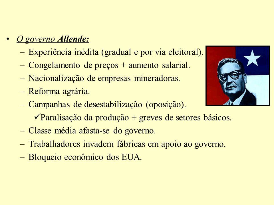 O governo Allende: –Experiência inédita (gradual e por via eleitoral). –Congelamento de preços + aumento salarial. –Nacionalização de empresas minerad