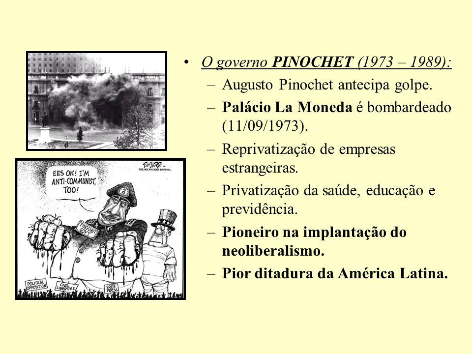 O governo PINOCHET (1973 – 1989): –Augusto Pinochet antecipa golpe. –Palácio La Moneda é bombardeado (11/09/1973). –Reprivatização de empresas estrang