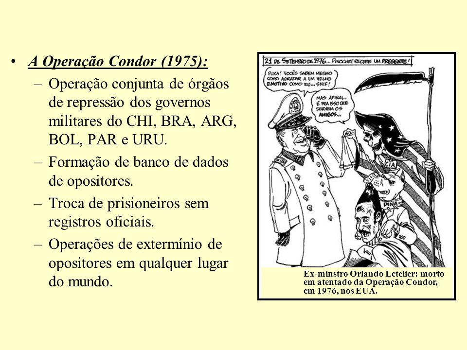 A Operação Condor (1975): –Operação conjunta de órgãos de repressão dos governos militares do CHI, BRA, ARG, BOL, PAR e URU. –Formação de banco de dad