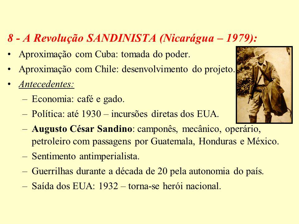 8 - A Revolução SANDINISTA (Nicarágua – 1979): Aproximação com Cuba: tomada do poder. Aproximação com Chile: desenvolvimento do projeto. Antecedentes: