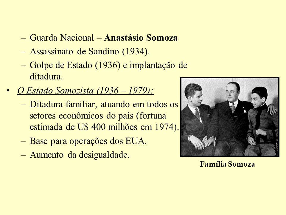 –Guarda Nacional – Anastásio Somoza –Assassinato de Sandino (1934). –Golpe de Estado (1936) e implantação de ditadura. O Estado Somozista (1936 – 1979