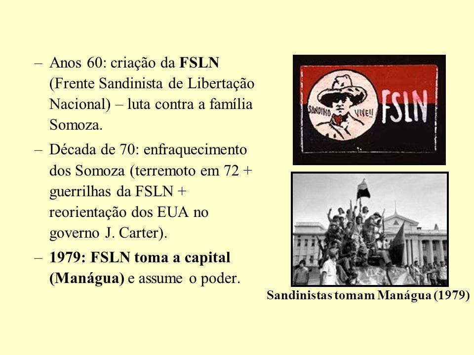 –Anos 60: criação da FSLN (Frente Sandinista de Libertação Nacional) – luta contra a família Somoza. –Década de 70: enfraquecimento dos Somoza (terrem