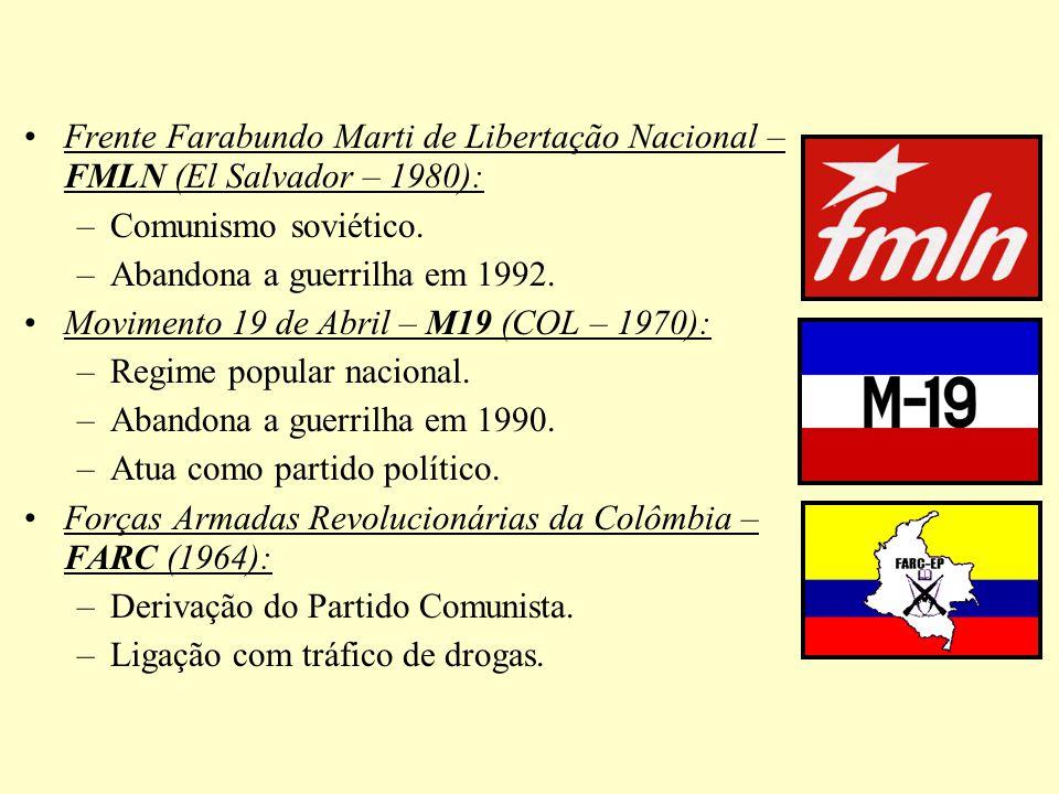 Frente Farabundo Marti de Libertação Nacional – FMLN (El Salvador – 1980): –Comunismo soviético. –Abandona a guerrilha em 1992. Movimento 19 de Abril