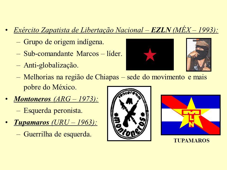 Exército Zapatista de Libertação Nacional – EZLN (MÉX – 1993): –Grupo de origem indígena. –Sub-comandante Marcos – líder. –Anti-globalização. –Melhori