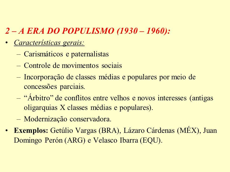 2 – A ERA DO POPULISMO (1930 – 1960): Características gerais: –Carismáticos e paternalistas –Controle de movimentos sociais –Incorporação de classes m