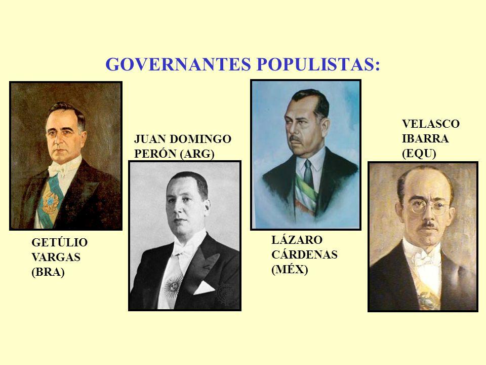 GOVERNANTES POPULISTAS: GETÚLIO VARGAS (BRA) JUAN DOMINGO PERÓN (ARG) LÁZARO CÁRDENAS (MÉX) VELASCO IBARRA (EQU)
