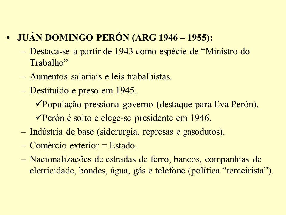 JUÁN DOMINGO PERÓN (ARG 1946 – 1955): –Destaca-se a partir de 1943 como espécie de Ministro do Trabalho –Aumentos salariais e leis trabalhistas. –Dest