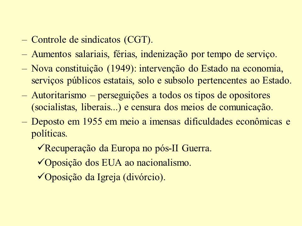 –Controle de sindicatos (CGT). –Aumentos salariais, férias, indenização por tempo de serviço. –Nova constituição (1949): intervenção do Estado na econ