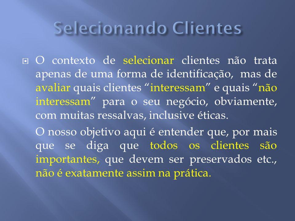 O contexto de selecionar clientes não trata apenas de uma forma de identificação, mas de avaliar quais clientes interessam e quais não interessam para
