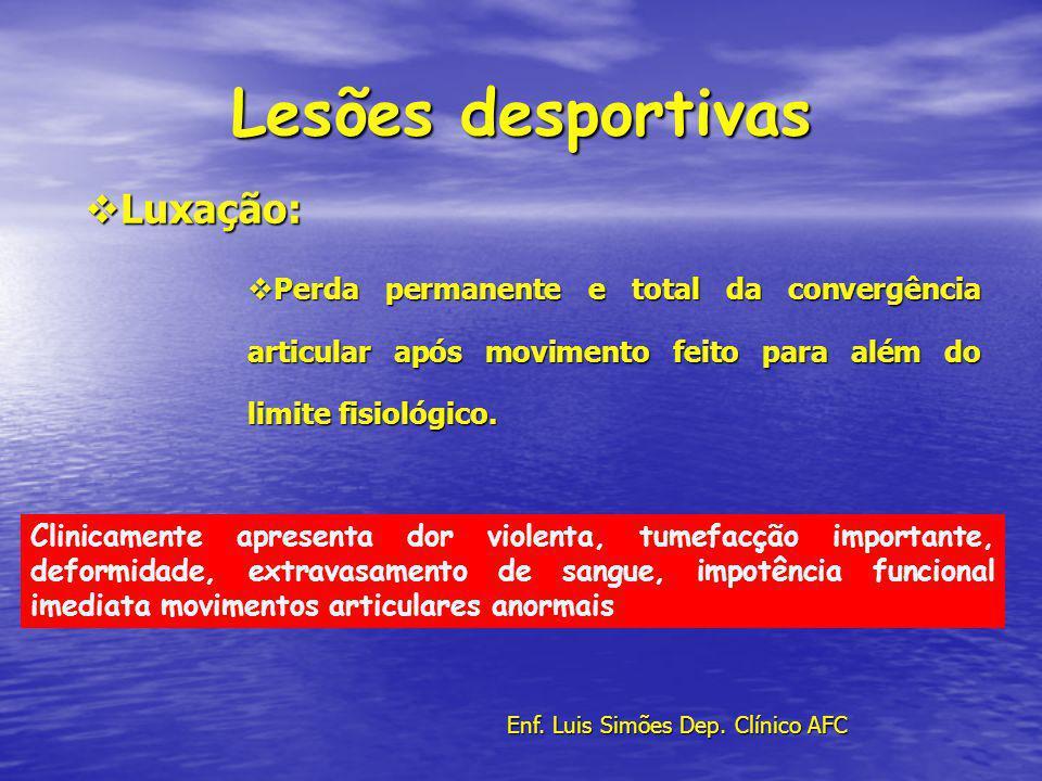 Lesões desportivas Luxação: Luxação: Perda permanente e total da convergência articular após movimento feito para além do limite fisiológico. Perda pe