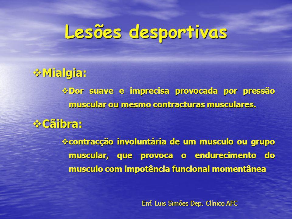 Lesões desportivas Mialgia: Mialgia: Dor suave e imprecisa provocada por pressão muscular ou mesmo contracturas musculares. Dor suave e imprecisa prov
