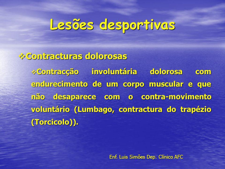 Lesões desportivas Contracturas dolorosas Contracturas dolorosas Contracção involuntária dolorosa com endurecimento de um corpo muscular e que não des