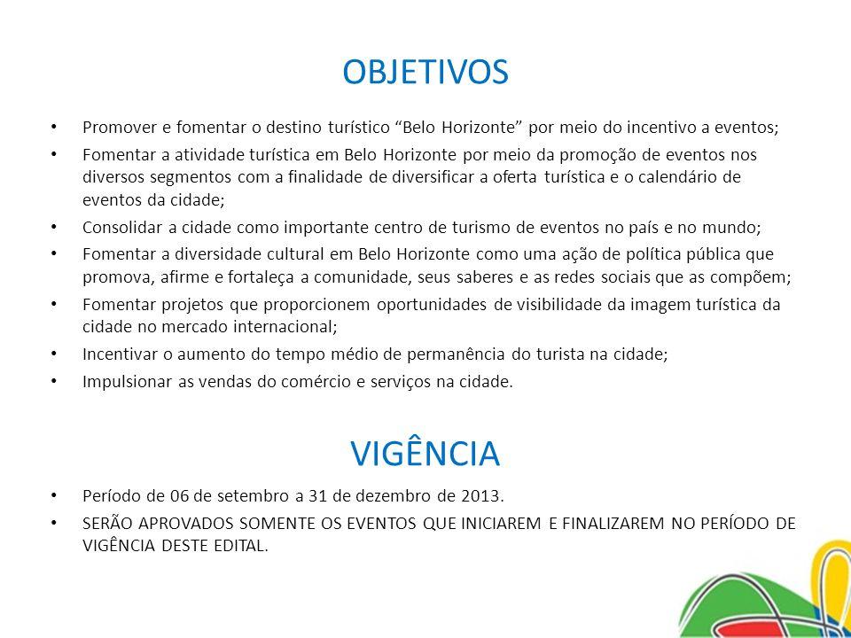 OBJETIVOS VIGÊNCIA Período de 06 de setembro a 31 de dezembro de 2013.