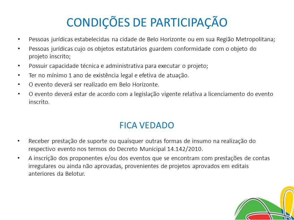 CONDIÇÕES DE PARTICIPAÇÃO Pessoas jurídicas estabelecidas na cidade de Belo Horizonte ou em sua Região Metropolitana; Pessoas jurídicas cujo os objeto