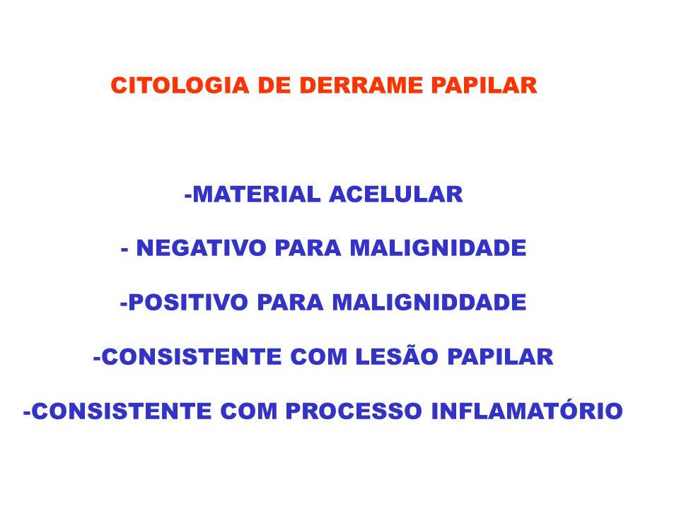 CITOLOGIA DE DERRAME PAPILAR -MATERIAL ACELULAR - NEGATIVO PARA MALIGNIDADE -POSITIVO PARA MALIGNIDDADE -CONSISTENTE COM LESÃO PAPILAR -CONSISTENTE CO
