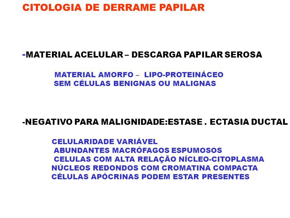 CITOLOGIA DE DERRAME PAPILAR - MATERIAL ACELULAR – DESCARGA PAPILAR SEROSA MATERIAL AMORFO – LIPO-PROTEINÁCEO SEM CÉLULAS BENIGNAS OU MALIGNAS -NEGATI