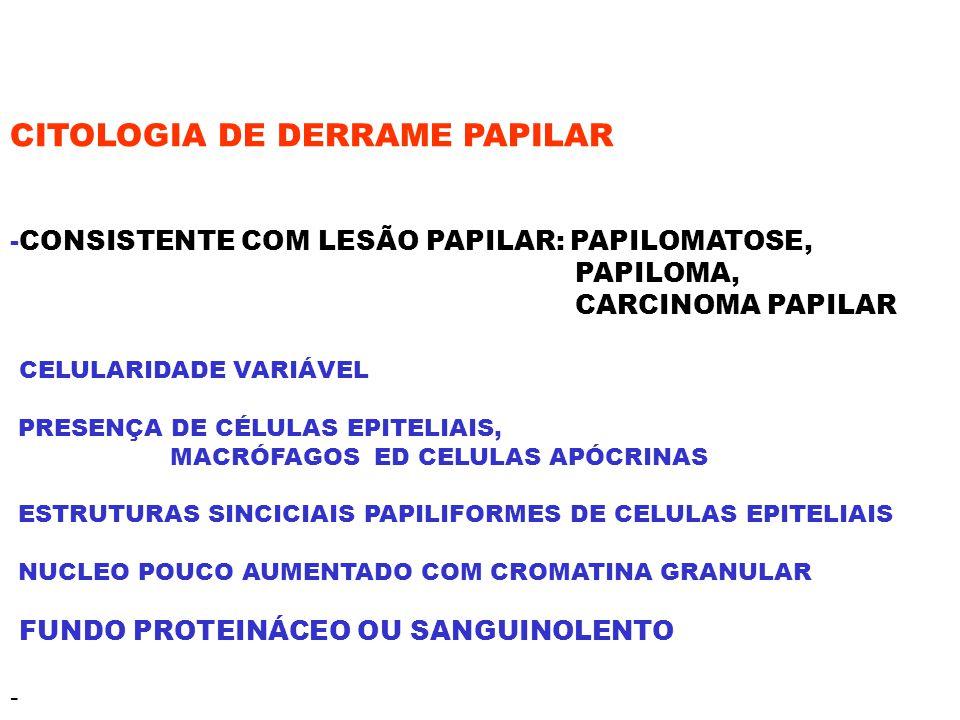 CITOLOGIA DE DERRAME PAPILAR -CONSISTENTE COM LESÃO PAPILAR: PAPILOMATOSE, PAPILOMA, CARCINOMA PAPILAR CELULARIDADE VARIÁVEL PRESENÇA DE CÉLULAS EPITE