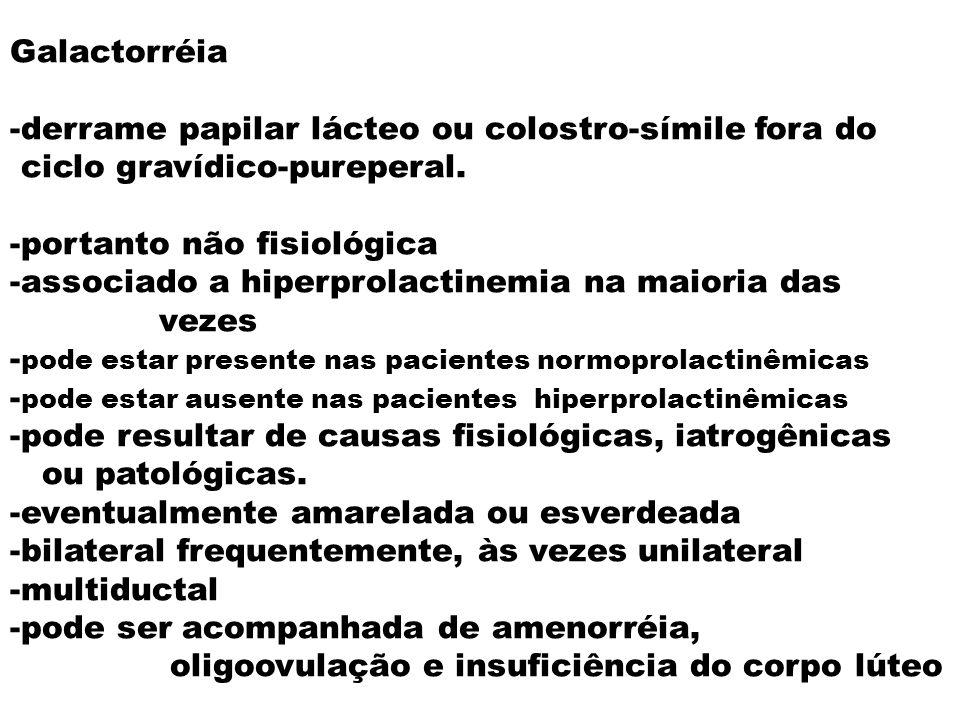 Galactorréia -derrame papilar lácteo ou colostro-símile fora do ciclo gravídico-pureperal. -portanto não fisiológica -associado a hiperprolactinemia n