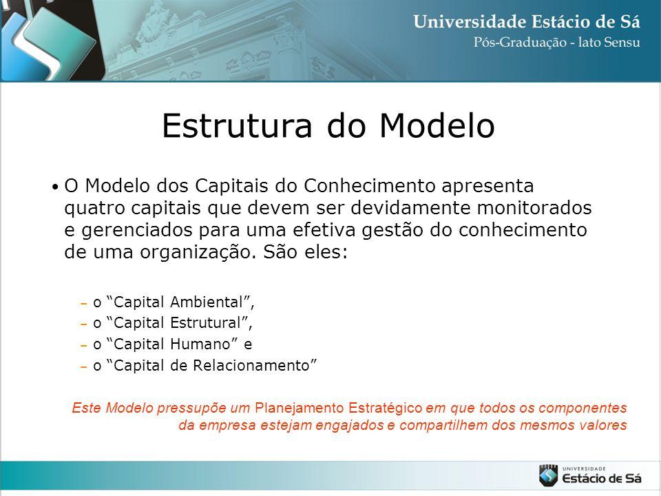 Estrutura do Modelo O Modelo dos Capitais do Conhecimento apresenta quatro capitais que devem ser devidamente monitorados e gerenciados para uma efetiva gestão do conhecimento de uma organização.