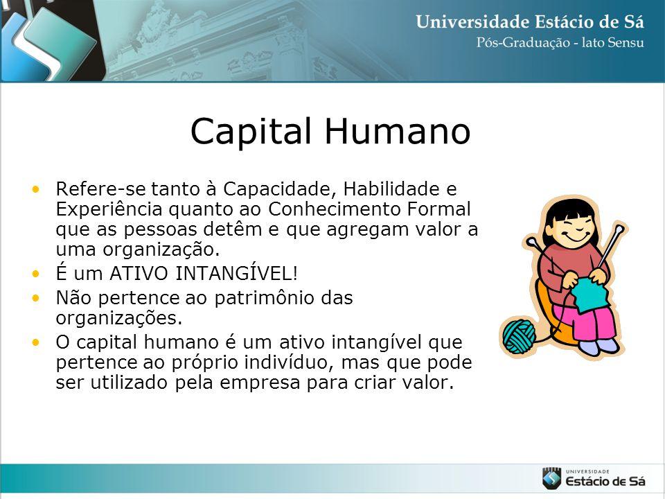 Capital Humano Refere-se tanto à Capacidade, Habilidade e Experiência quanto ao Conhecimento Formal que as pessoas detêm e que agregam valor a uma organização.