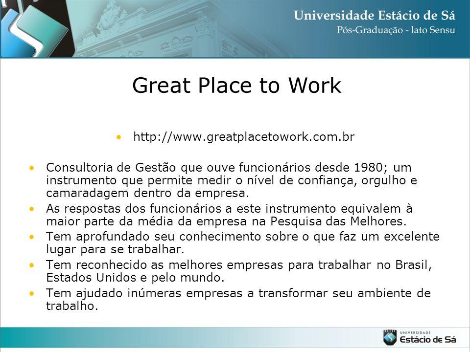 http://www.greatplacetowork.com.br Consultoria de Gestão que ouve funcionários desde 1980; um instrumento que permite medir o nível de confiança, orgulho e camaradagem dentro da empresa.