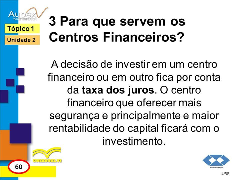 3 Para que servem os Centros Financeiros? A decisão de investir em um centro financeiro ou em outro fica por conta da taxa dos juros. O centro finance