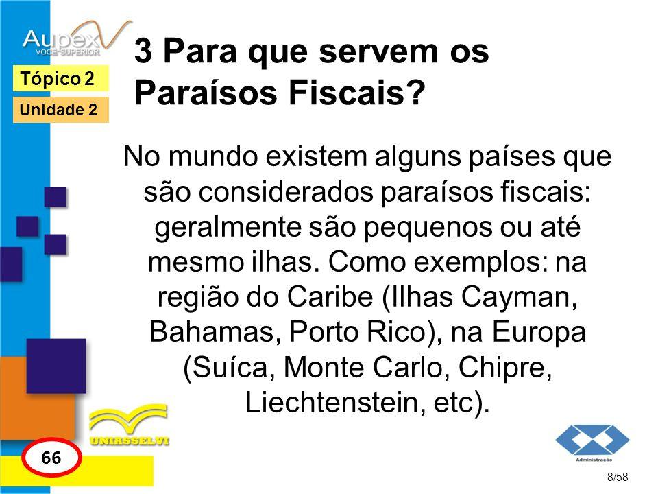 3 Para que servem os Paraísos Fiscais? No mundo existem alguns países que são considerados paraísos fiscais: geralmente são pequenos ou até mesmo ilha