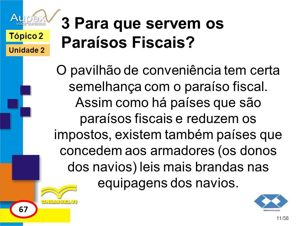 3 Para que servem os Paraísos Fiscais? O pavilhão de conveniência tem certa semelhança com o paraíso fiscal. Assim como há países que são paraísos fis