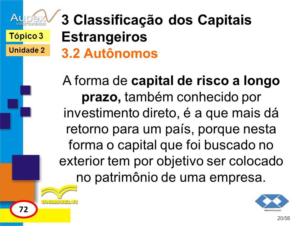 3 Classificação dos Capitais Estrangeiros 3.2 Autônomos A forma de capital de risco a longo prazo, também conhecido por investimento direto, é a que m