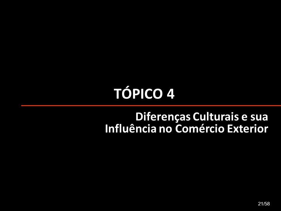 TÓPICO 4 21/58 Diferenças Culturais e sua Influência no Comércio Exterior